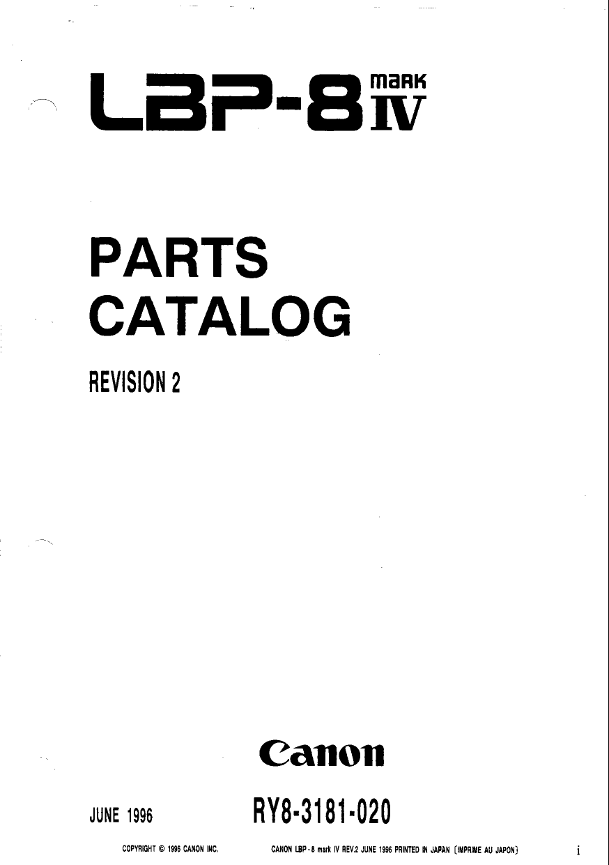 Canon imageCLASS LBP-8IV Parts Catalog Manual